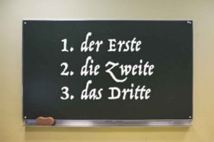 ordinal numbers in german on blackboard